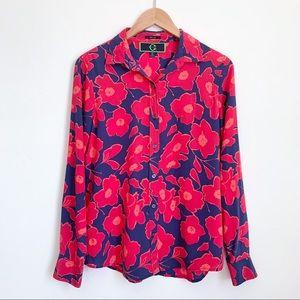C Wonder pink/navy silk floral button down shirt